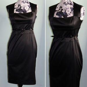 Nine West Black Satin Belted Dress